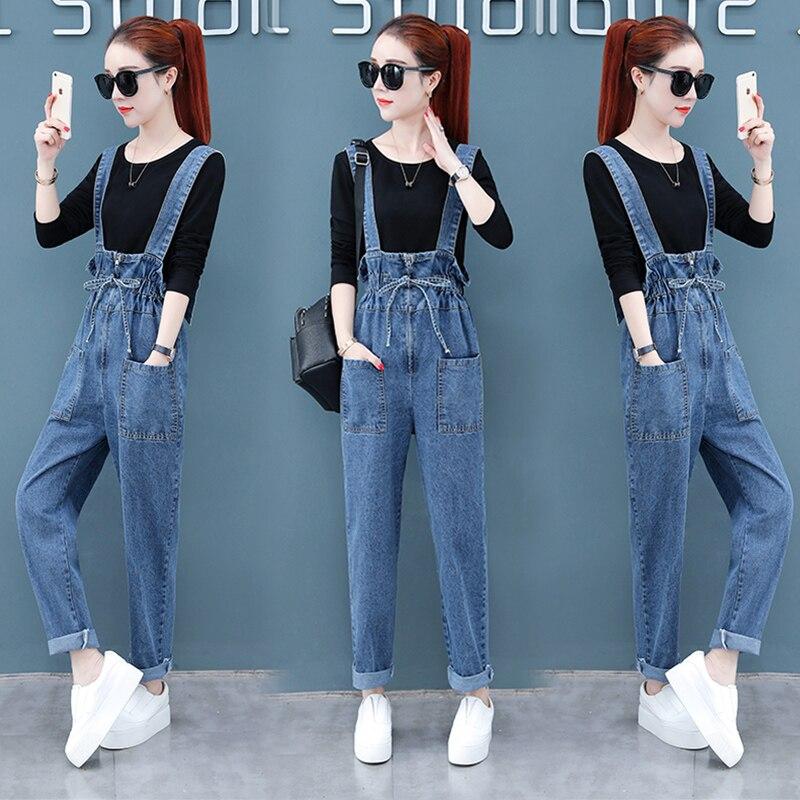 Women's Overalls Mother Pants 2020 New Korean Version Of Loose Summer And Autumn Women's Denim High Waist Overalls Suspenders