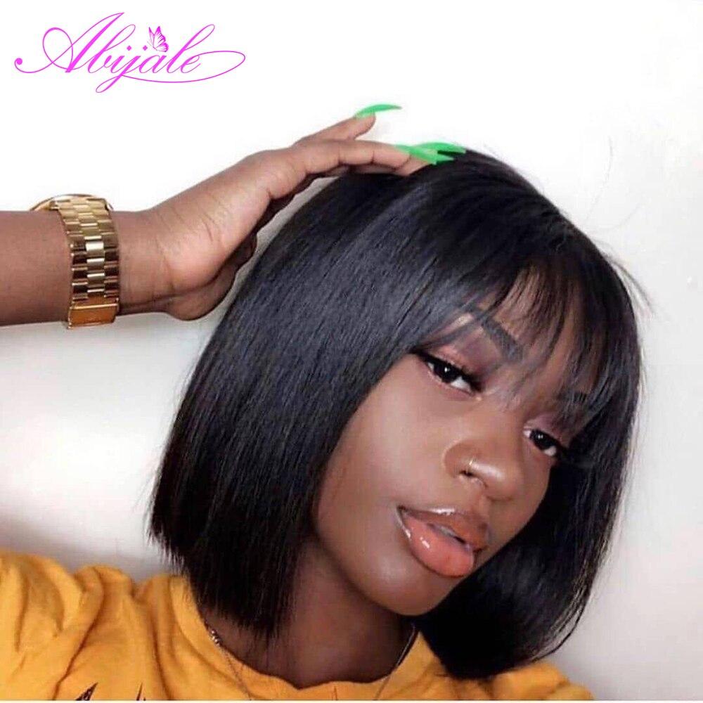 Abijale парик с челкой, бразильский прямой короткий парик с Бобом для черных женщин, средний коэффициент, средний размер, не Реми