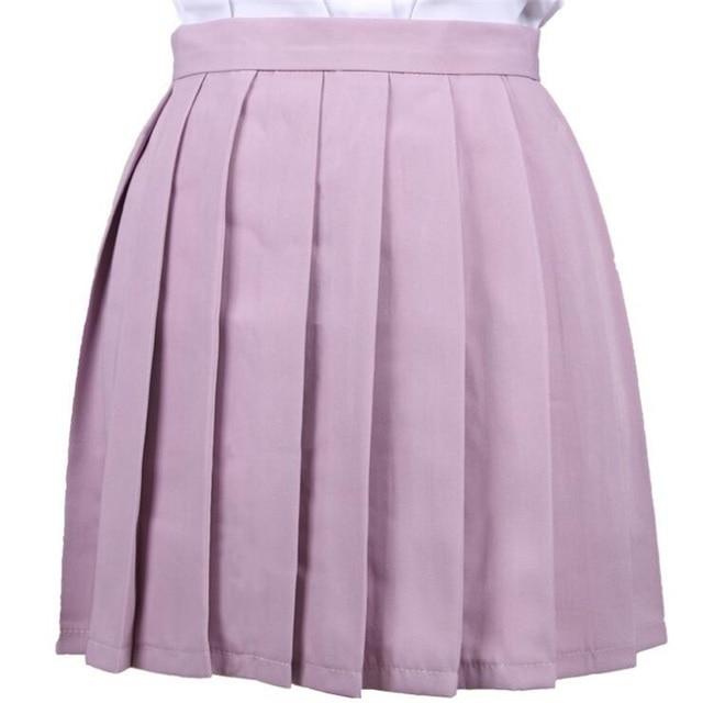Women's Skirts Ladies Kawaii Pleated Cos Macarons Solid Color High Waist Skirt Female Korean Harajuku Clothing For Women Casual 5