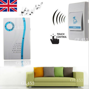 UK Wireless Doorbell Chime Battery Operated Door Bell Remote Button Chime Ring
