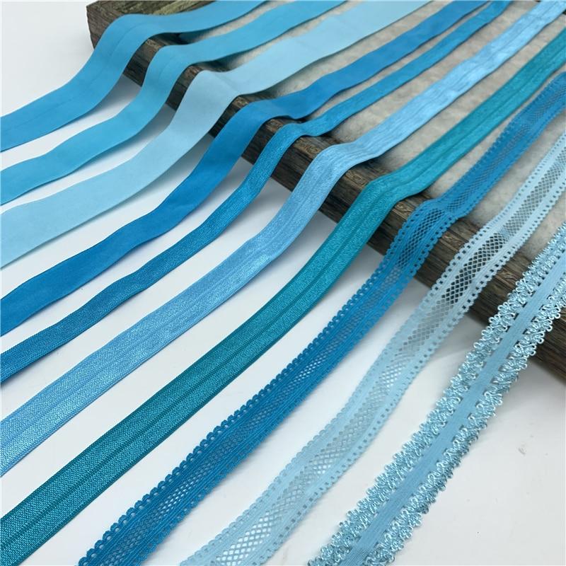 Эластичная лента небесно-голубого цвета, 10/15/20/25 мм, 5 ярдов, складная эластичная лента из спандекса для шитья, кружевная отделка, аксессуар д...