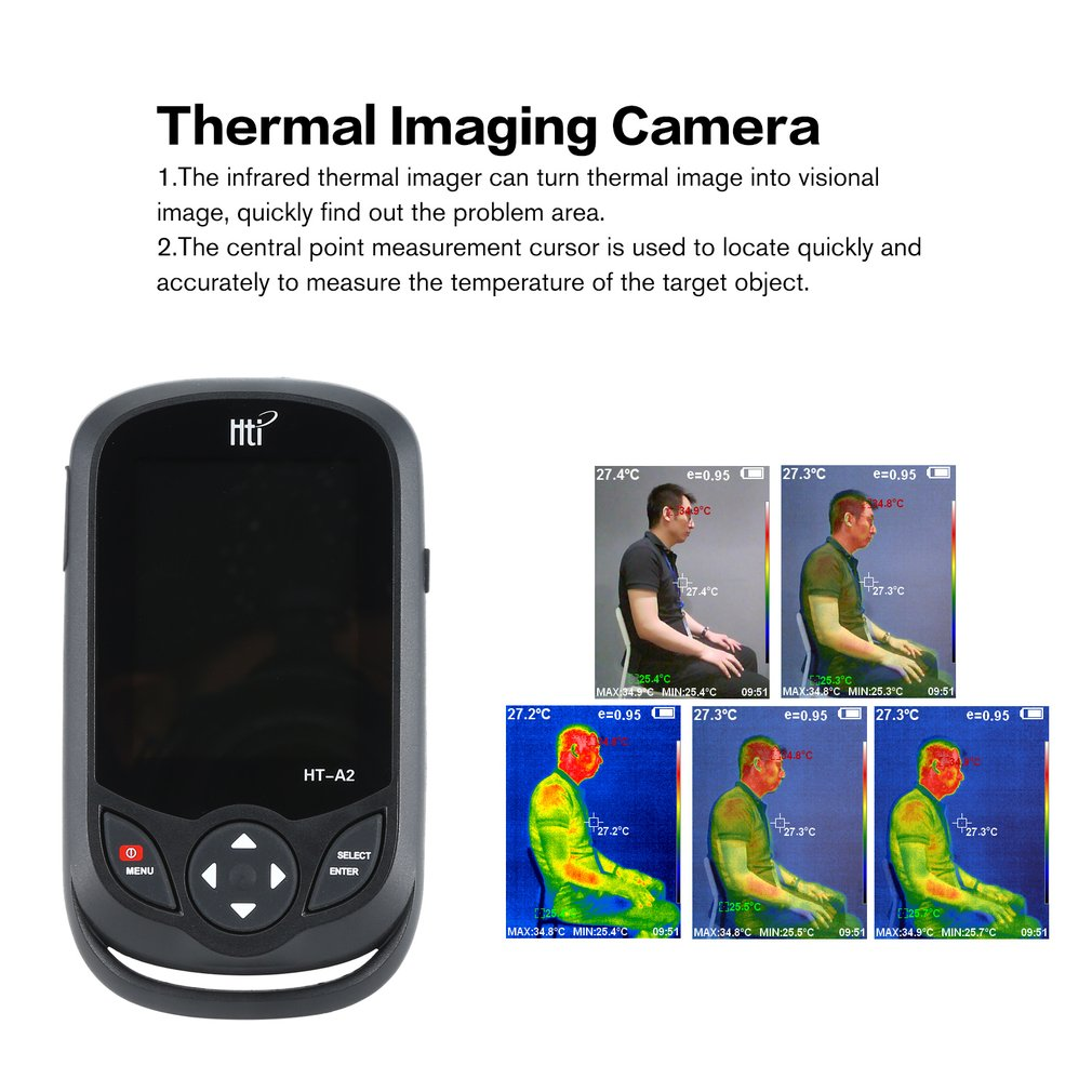 HT A2 3.2 inch Digitale IR Warmtebeeldcamera 0.3MP Full View TFT Screen Infrarood thermometer Warmtebeeldcamera Camera Detector - 3
