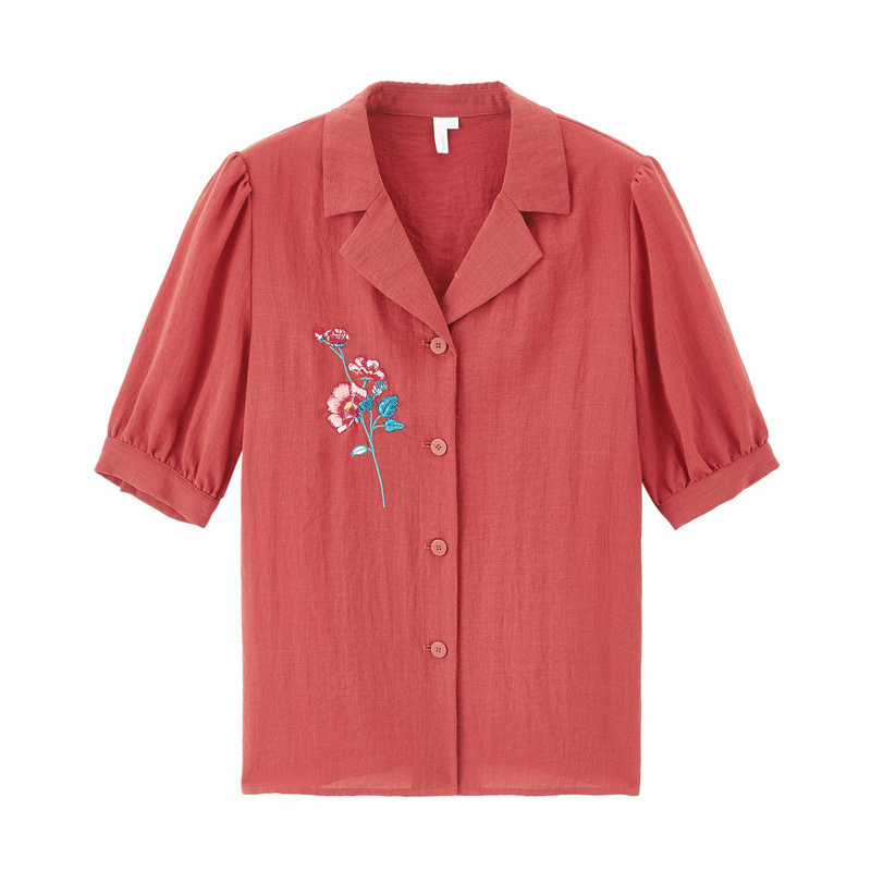 INMAN 2020 Summer New Arrival Lapel Embroidered Retro Hongkong Style Temperament Loose Blouse