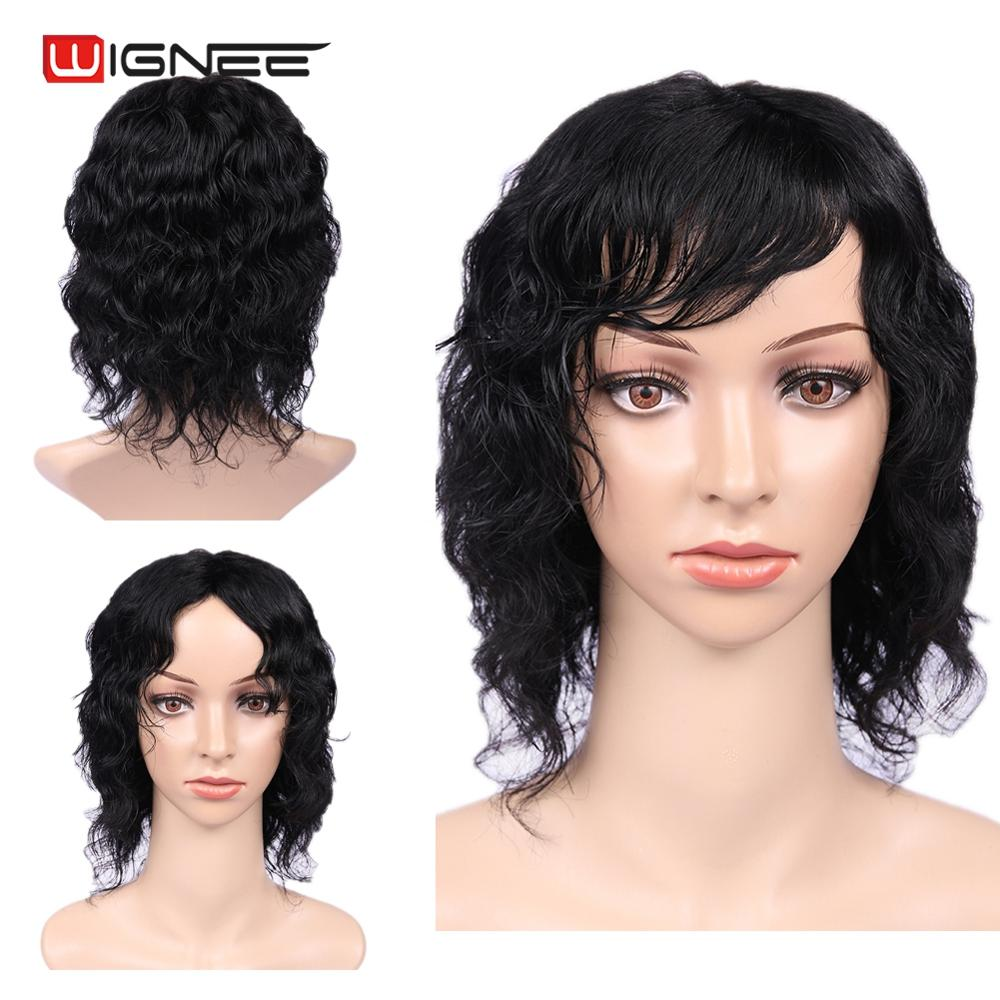 Wignee 6 Inch Short Natural Wave Bob Human Wig With Free Bangs For African Americans 150% High Density Pixie Cut Human Hair Wigs