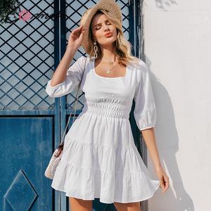 Image 4 - Conmoto Vestido corto informal de mujer, Vestido corto blanco con cuello cuadrado Vintage y cintura alta para playa y vacaciones, minivestido de señora con mangas abullonadas