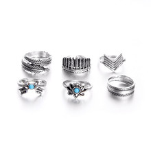 Boho Midi Finger Rings Set for Women Punk Leaf Flower Hollow Out Sliver Knuckle Rings Jewelry Gift(China)