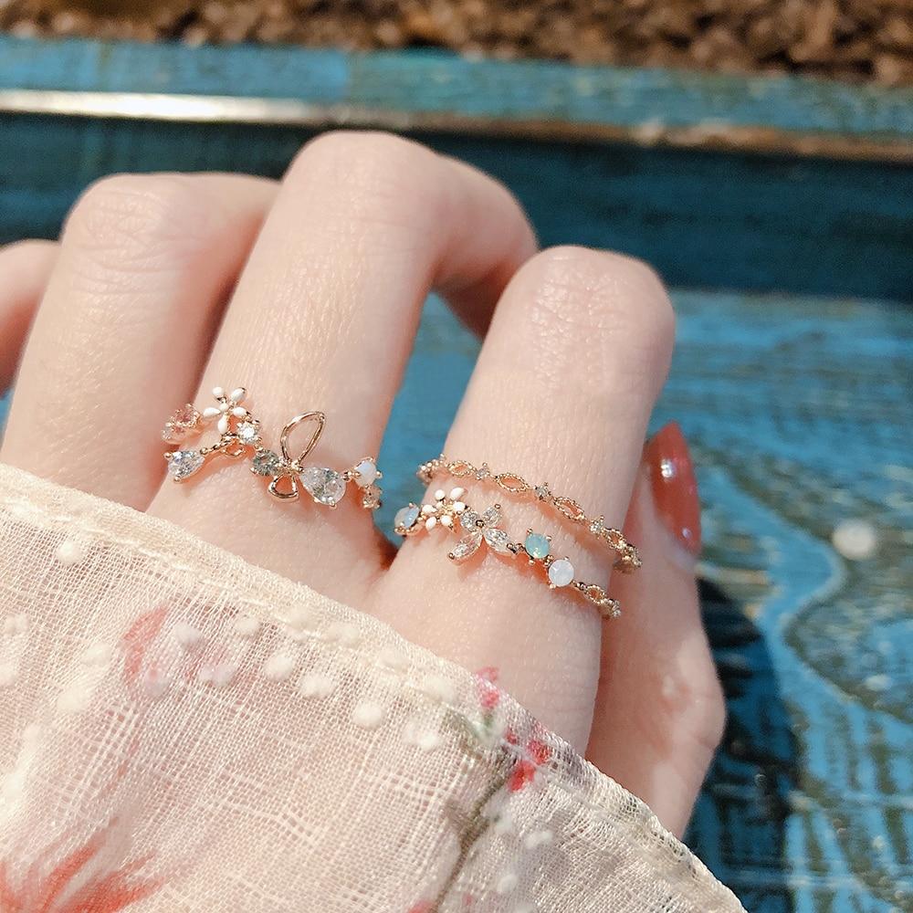 Купить женские регулируемые кольца mengjiqiao корейские милые с кубическим