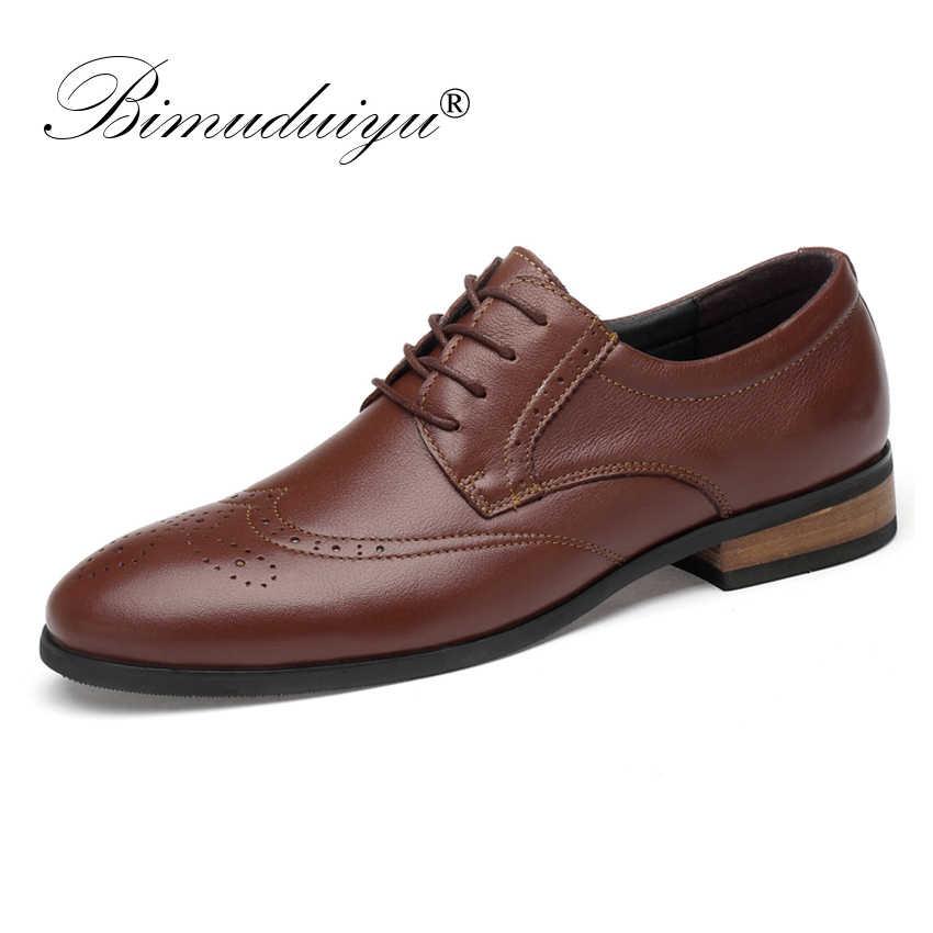 BIMUDUIYU erkekler hakiki inek deri resmi ayakkabı Brogue düğün klasik erkek resmi ayakkabı Lace up erkek elbise rahat daireler Oxford ayakkabı
