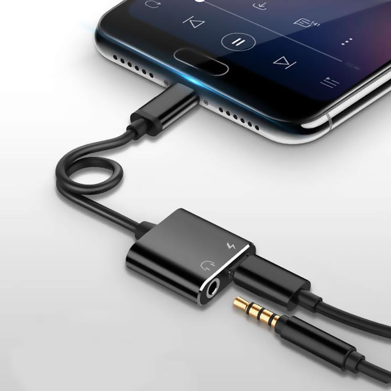 Type C To 3.5 Mm Earphone Jack Adapter 2 In 1 USB C Audio Cable Converter Charging Splitter Headphone Adapter For Samsung Xiaomi