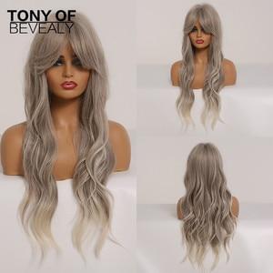 Image 5 - Perruques synthétiques longues et ondulées avec frange, coiffures naturelles ombré brunes pour femmes de teint noir, perruques de Cosplay africaines et américaines résistantes à la chaleur