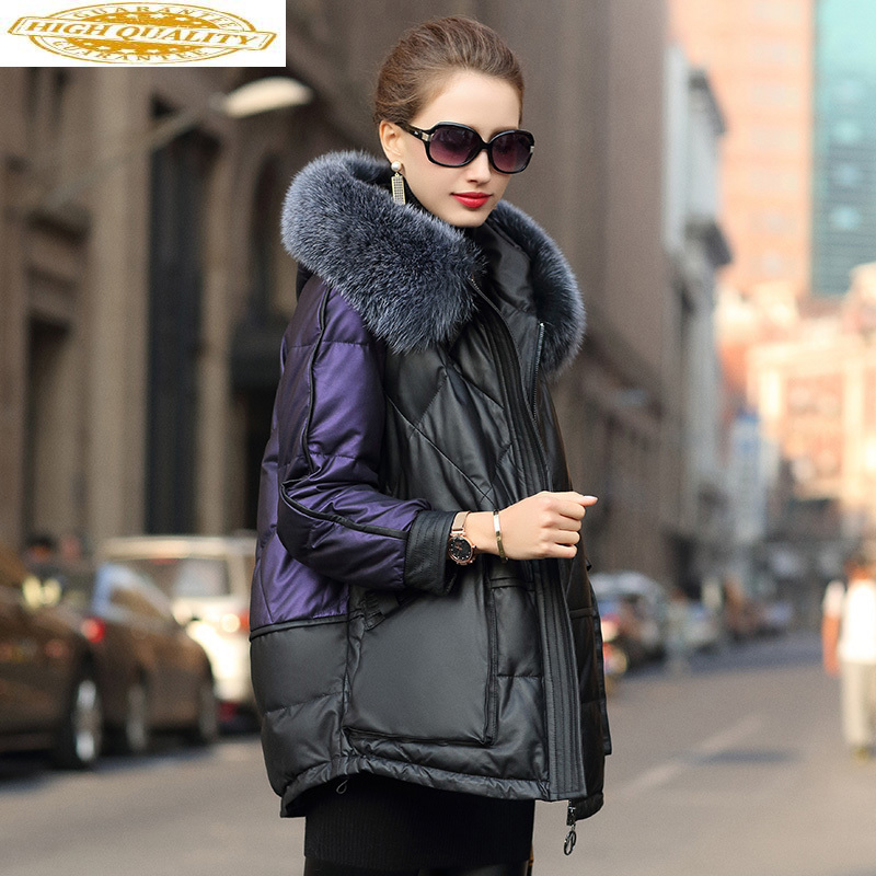 Real Leather Jacket Winter Coat Women Fox Fur Collar Warm Down Jacket Women Genuine Sheepskin Coat Chaqueta Mujer 619048