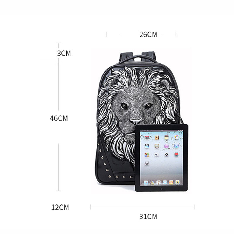 Mode sac à dos femmes sacs à dos hommes sac à dos Famale 3D impression Lion Rivet sacs à dos femmes sacs d'école pour adolescents sac de voyage - 4