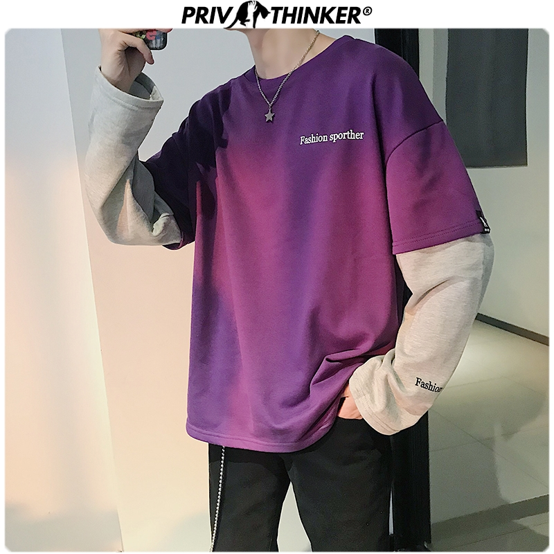 Privathinker Korean Style Men's Hoodies Japanese Fake Two Piece Man Casual Sweatshirts 2020 Hip Hop Male Streetwear Hoodie