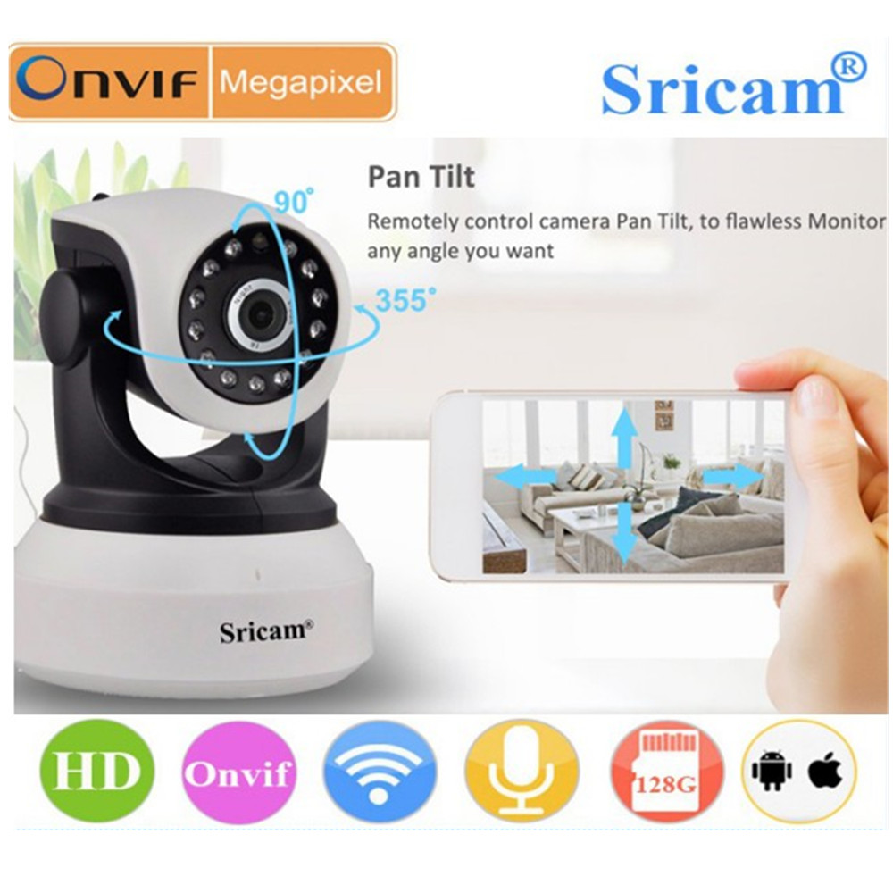 Sricam SP017 HD Wireless Security IP Camera Wifi Two-Way Audio IR-Cut Night Vision Audio Surveillance Alarm Indoor Baby Monitor