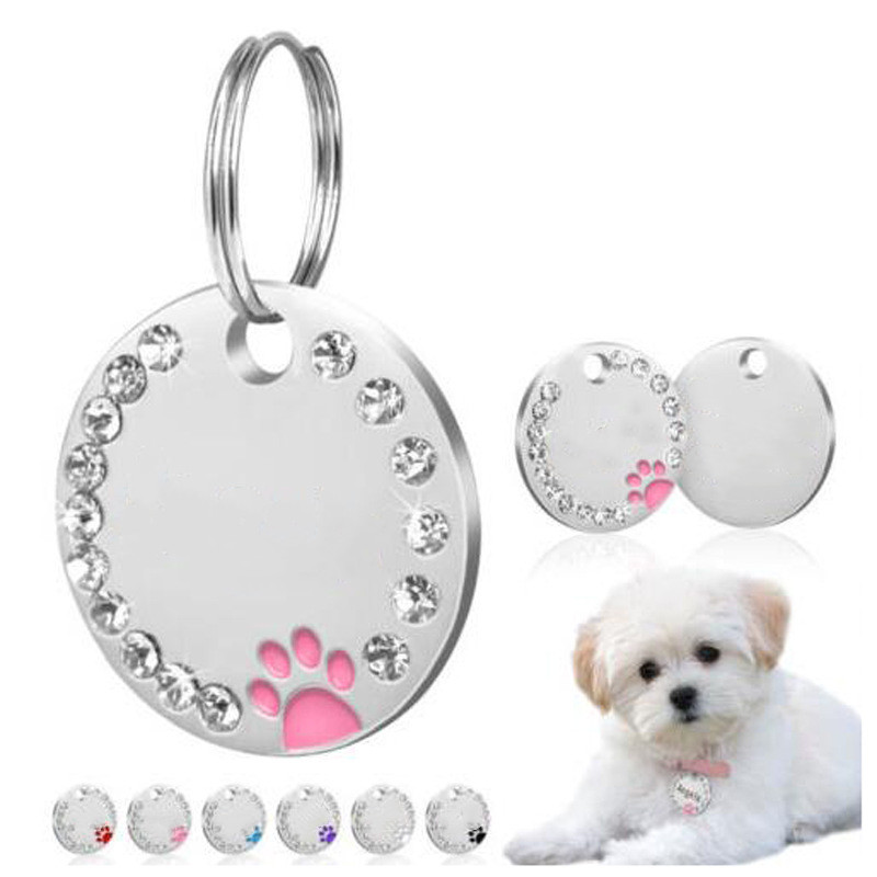 1PC Anti-lost Dog Engraved Pet Dog Collar Accessories Personalized Cat Puppy ID Tag Stainless Steel Paw Name Tags Pendant handbag