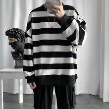 Sudaderas con rayas para hombre, moda de primavera y otoño, ropa para pareja holgada, Sudadera con capucha de Hip-Hop, 2021
