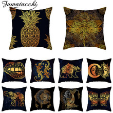 Fuwatacchi Gold Animals Picture Pillow Case Sun Moon Printed Cushion Cover For Home Car Chair Sofa Decorative Black Pillowcases fuwatacchi design picture here print