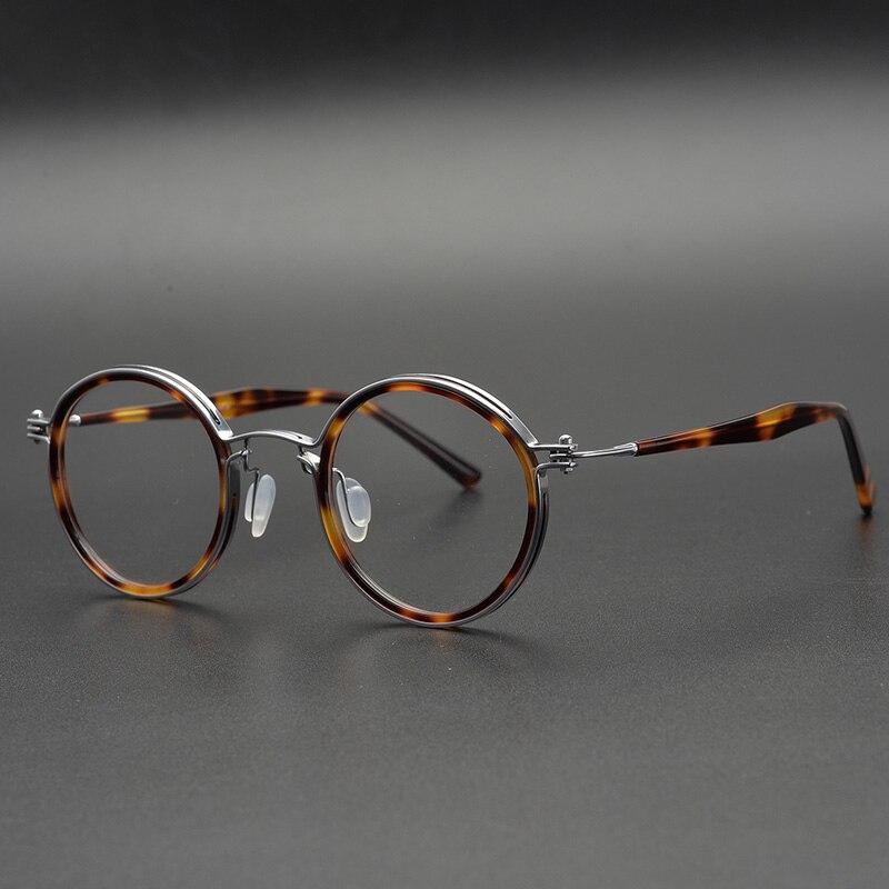 Acetate Round Glasses Frame Men Vintage Retro Clear Lens Eyeglasses Women Optical Myopia Prescription Frames Spectacles Eyewear