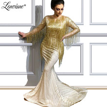 Gold Beading Tassel Evening Dress 2019 Glitter Mermaid Middle East Arabic Women Long Sleeves Party Dress Pageant Occasion Prom Dress Abendkleider