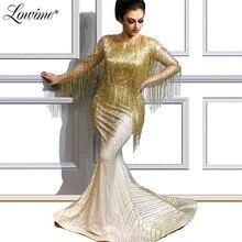 Ouro Beading Borla Vestido de Noite 2019 Glitter Mermaid Árabe Do Oriente Médio Mulheres Mangas Compridas Vestido de Festa Pageant Ocasião Vestido de Baile abendkleider