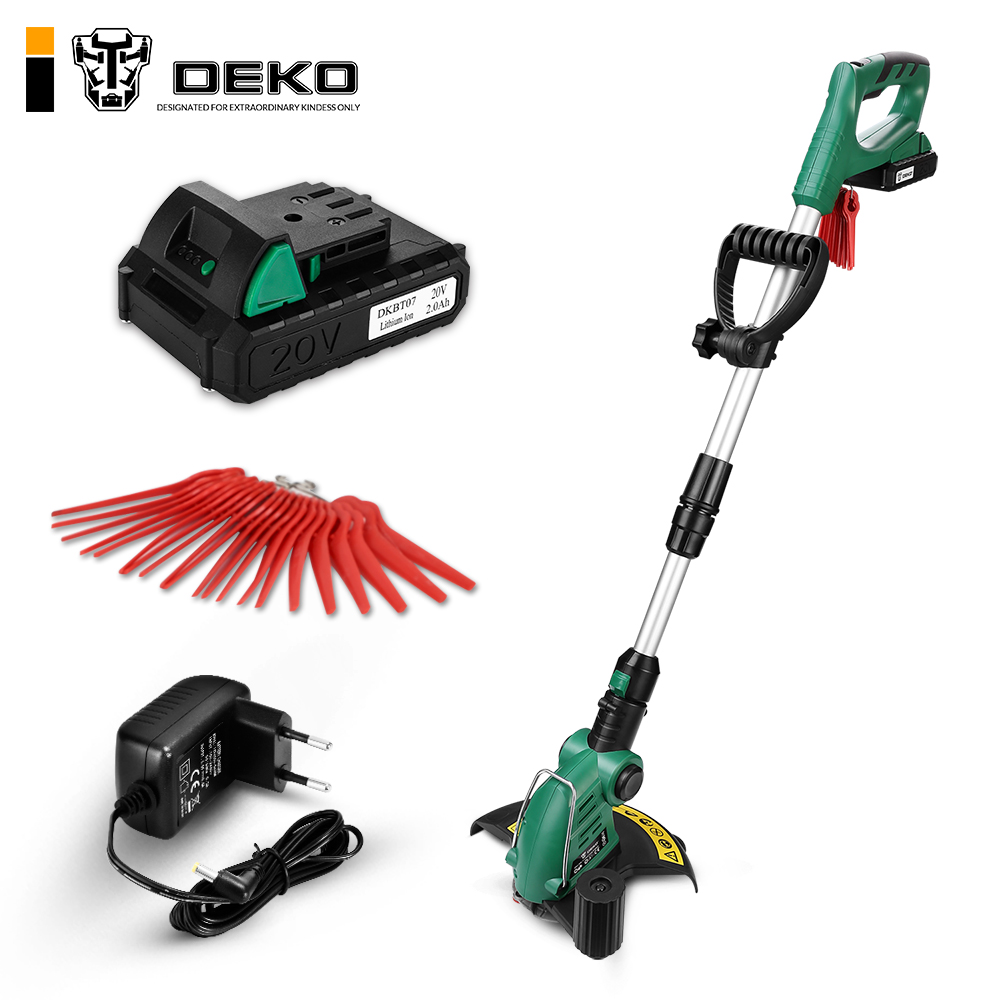 DEKO DKGT06 20V Lithium 1500/2000mAh Cordless Grass Trimmer with Battery Pack and Blade Pendants Adjustable Working Angle-in Grass Trimmer from Tools    1
