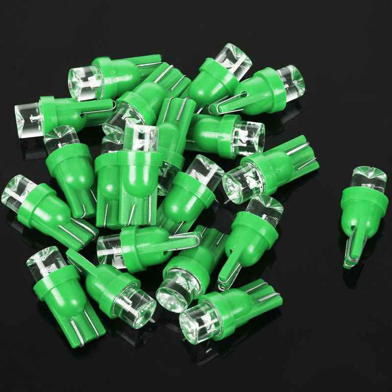20x T10 W5W 158 168 194 501 LED Car Side Wedge Dashboard Light Bulb Lamp, Green