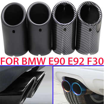 70mm Car Exhaust Muffler Tip Cover For BMW F30 2013-2018 E92 E90 3 Series GT 325i 328i 2006 2007 2008 2009 2010 Stainless Steel image