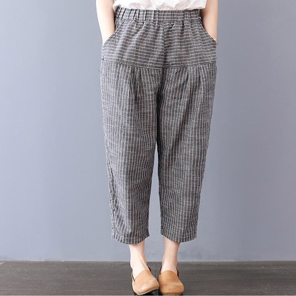 Supermiss Women Summer Linen Pants Long Harem Stripe Capri Pants Elastic Waist Casual Cargo Female Long Trousers Plus Size