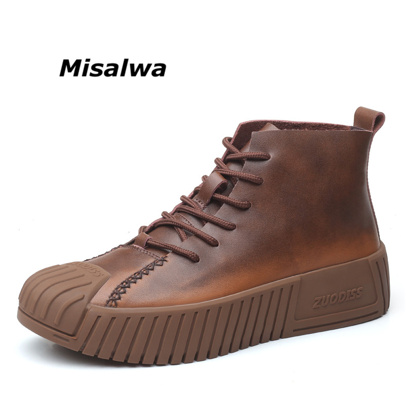 Misalwa Sapling Classic Men's Boots Height Increasing Casual Sneakers Lace-up Autumn Warm Army Boots 2019 Combat Ankle Boots