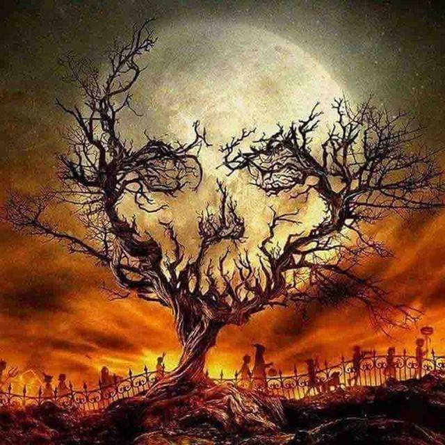 Broderie Diamant Halloween Lune