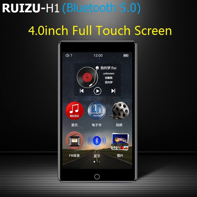 2020 RUIZU H1 Full Touch Screen 4.0inch MP3 Player Bluetooth 8GB Music Player Support FM Radio Recording Video E book With Built
