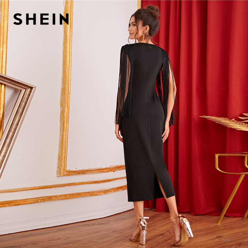 Image 2 - SHEIN Black Solid Fringe Detail Split Back Pencil Party Dress Women 2019 Autumn Sleeveless Elegant Ladies Bodycon Midi Dresses-in Dresses from Women's Clothing