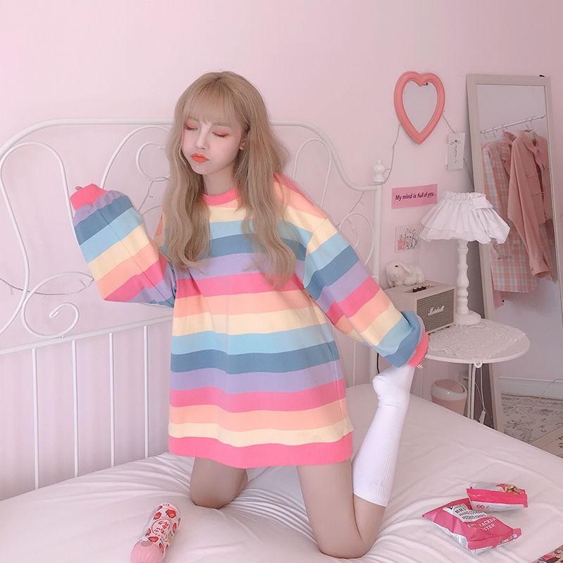 Harajuku Style Kpop Striped Loose Sweatshirt Women Spring Long Sleeve Pullover Kawaii Clothes Colorful Rainbow Student Girl Tops