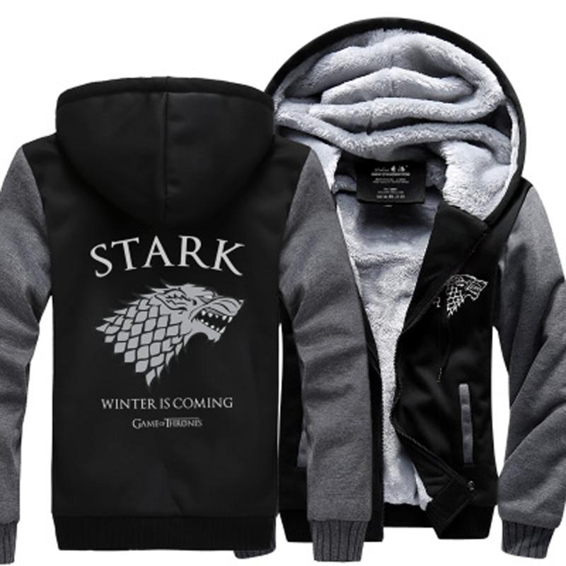 Game Of Thrones Men Thick Jacket House Stark Sweatshirt Winter Is Coming Hoodies Winter Warm Fleece Thicken Jacket Zipper Coats