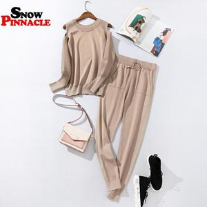 Image 2 - 2020 Fashion Women sweater customes sets Spring Autumn 100% Cotton thick soft long pant knitted sets Casual 2PCS Track Suits