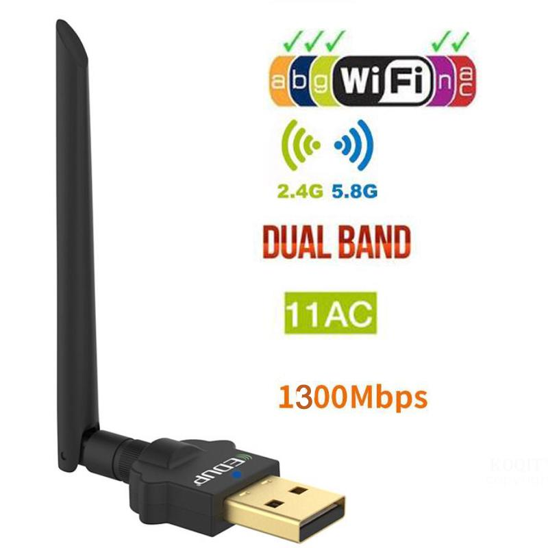 EDUP Dual Band AC 1300Mbps USB WiFi Adapter 5GHz Wi-Fi Receiver Dongle wireless Network Card 2dBi Antenna Windows/Mac for PC image