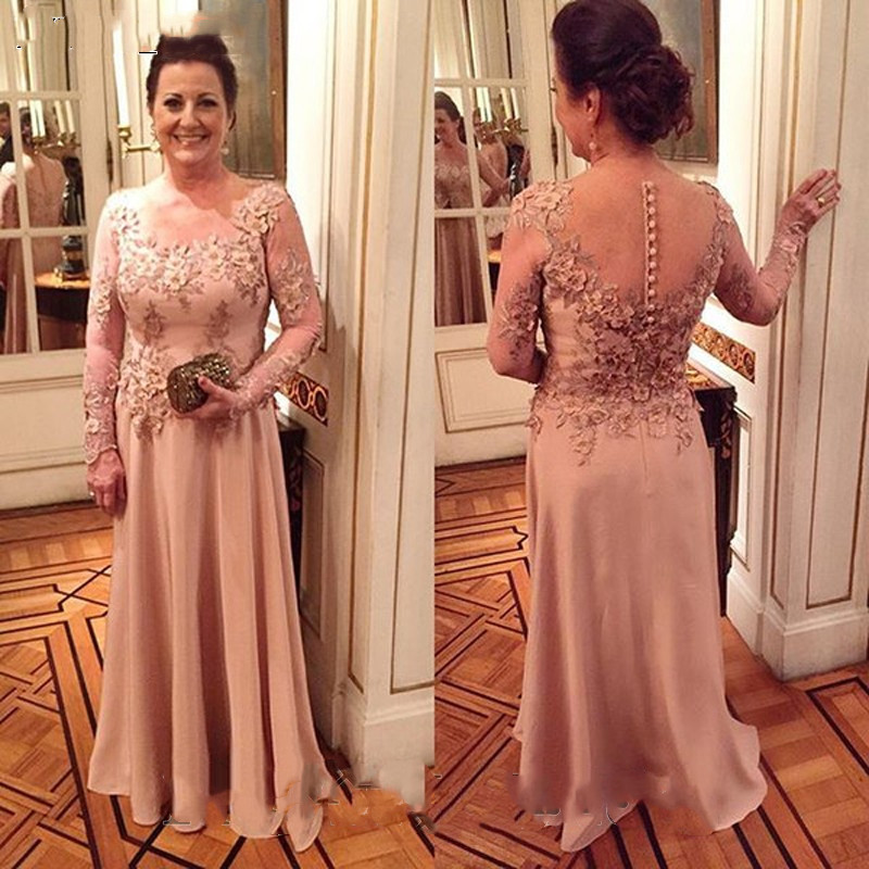 Elegant Chiffon Plus Mother Of The Bride Dresses 2019 Long Sleeves Vintage Lace vestido de madrinha Prom Formal Evening gown