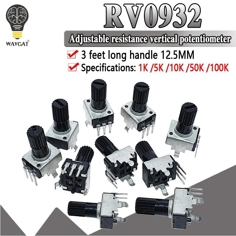 10PCS RV09 Vertical 12.5mm Shaft 5K 10K 50K 100K 0932 Adjustable Resistor 9 Type 3Pin Seal Potentiometer