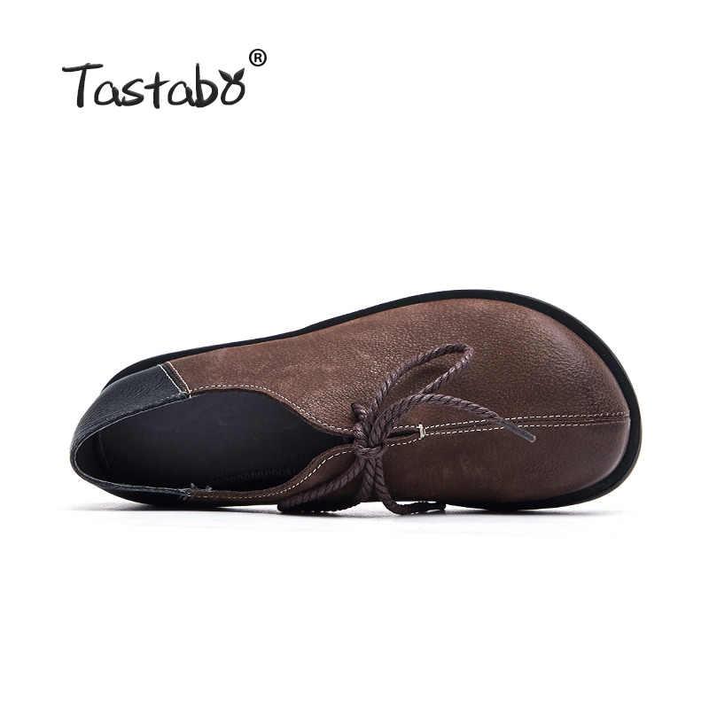 Tastabo 2019 Hakiki Deri kadın ayakkabısı El Yapımı vintage craft Sürüş Ayakkabı Yumuşak alt S99102 Kahverengi Siyah düşük topuk ayakkabı