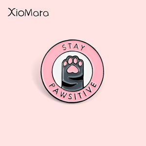 Pinky Cat Paw Enamel Pin Stay positive Claws Kitty Cuteee Pet Bagde Animal Jewelry Brooches Lapel Pin For Friends Gifts