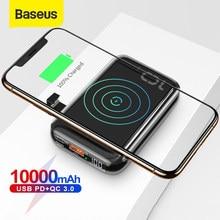 Baseus 10000mAh Qi kablosuz şarj güç bankası USB PD hızlı şarj Powerbank taşınabilir harici pil şarj cihazı