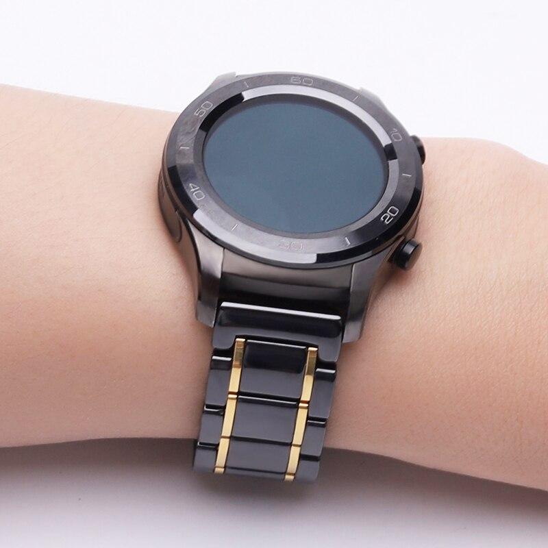Cerâmica para Huawei Cinta Relógio Inteligente Compatível Substituição Espelho Suave Borboleta Fivela Ajustável Tamanho 20mm 2
