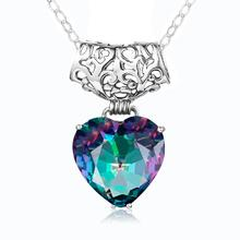 Szjinao Rainbow Mystic Topaz Sterling Silver Pendants Boho Heart Necklaces Pendant For Women Silver 925 Jewelry Wedding Pingente