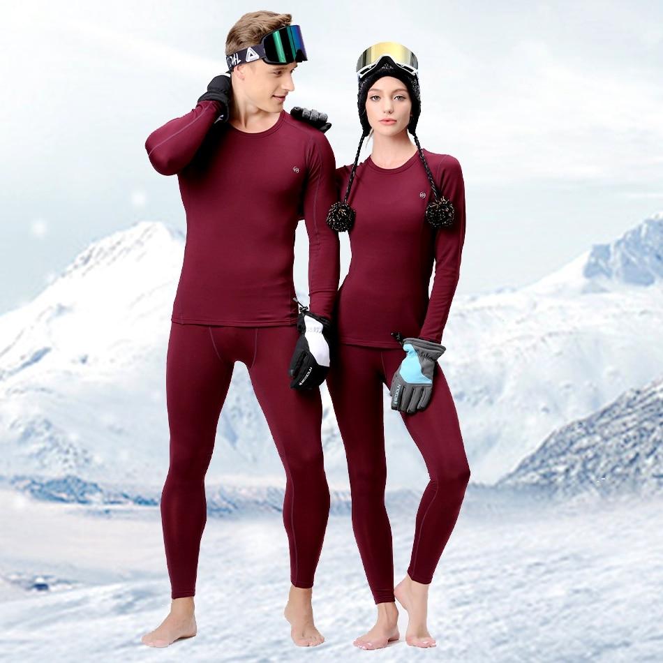 Men Women Skiing Underwear Set Winter Sports Quick Dry Thermal Underwear Ski Clothing Sportswear