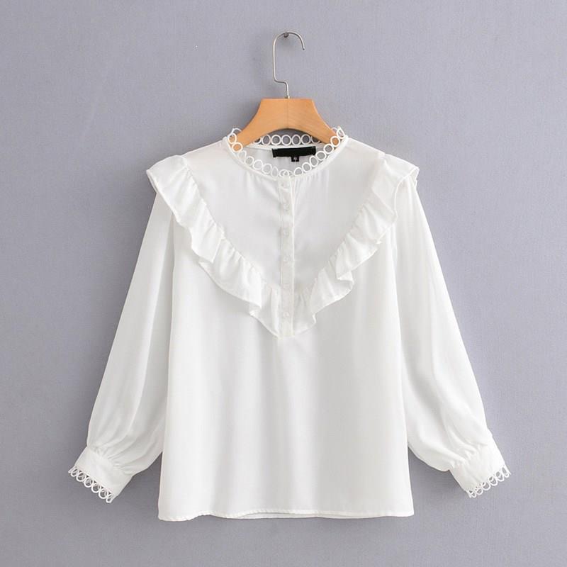 Women O Neck Lantern Sleeve Loose Shirts Elegant Patchwork Casual Blouses White Ruffles Long Sleeve Shirts