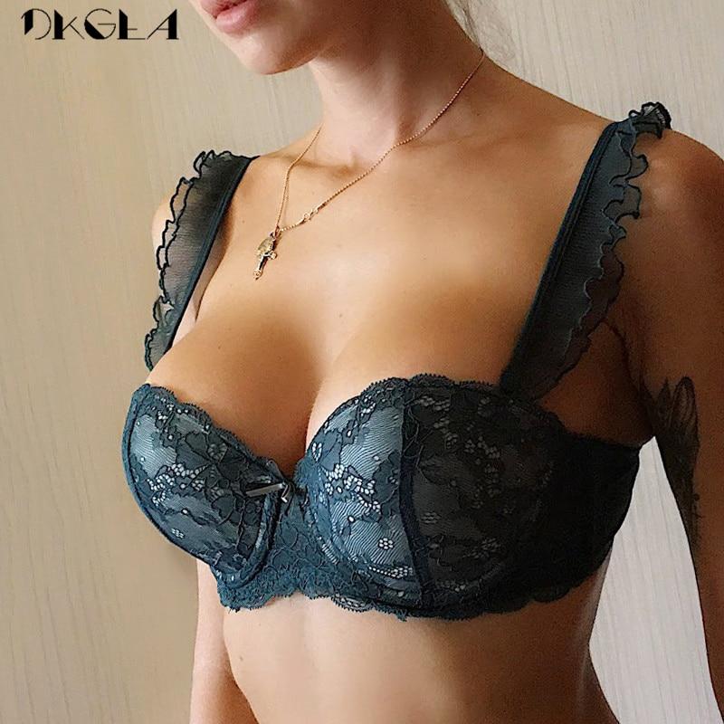 Yeni üst toplamak seksi sütyen dantel nakış iç çamaşırı yeşil sutyen derin V Push Up sütyen kadın iç çamaşırı pamuk kalın A B C fincan