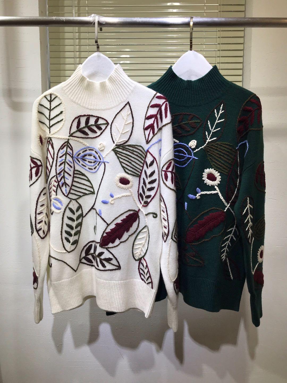 2020 Runway Designer Embroidery Sweater Femme 2020 Autumn Women White Dark Green Cashmere Hot Sale Sweater From Taiyangstar, $180.46 | DHgate.Com