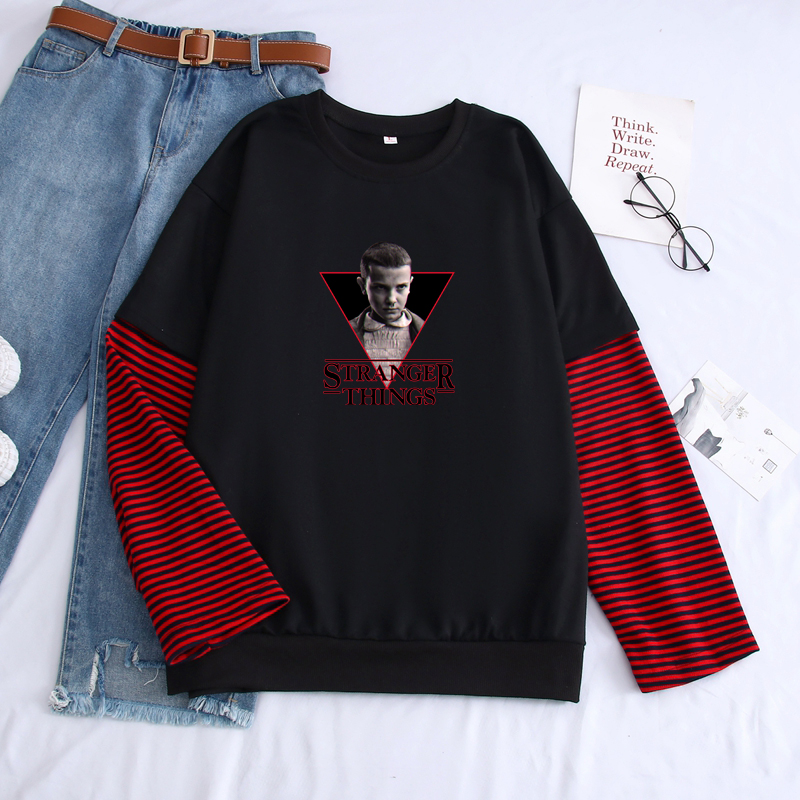 Autumn Men's Sweatshirt Harajuku Stranger Things Printed Pullovers Men's Hoodies Fashion Stitching Color Long Sleeve Sweatshirts