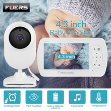 FUERS 4.3 Inch Video Baby monitor LCD Color WirelessAudio Baby Monitor Night Vision Camera Two Way Radio Temperature Detection babykam video baby monitors 3 2 inch lcd ir night vision intercom lullabies temperature monitor baby camera radio baby monitors