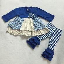 Inverno bonito da menina do vintage estilo completo roupas outono floral impressão moda remake legging conjunto de roupa da menina